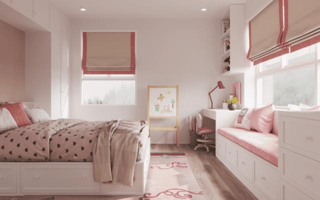Hình ảnh thiết kế nội thất phòng bé gái view 02