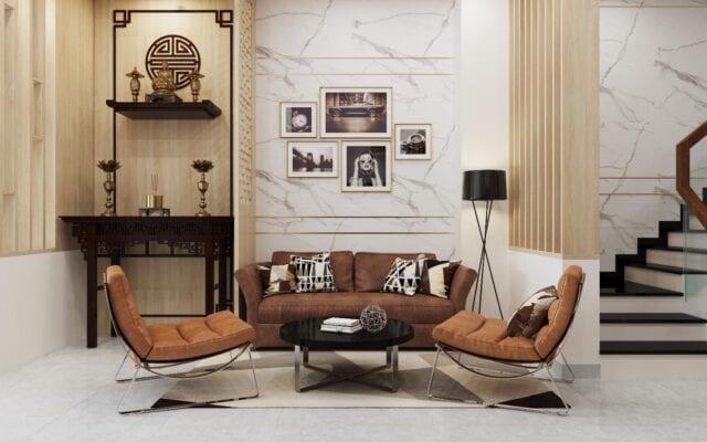 Hình ảnh thiết kế nội thất phòng khách nhà anh Đức Bình Tân ảnh 02