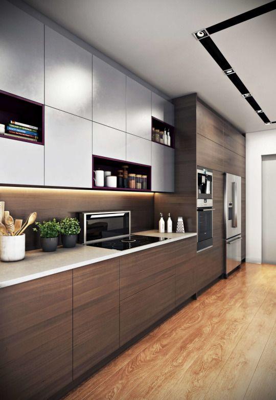 Mẫu tủ bếp laminate hình chữ I đẹp