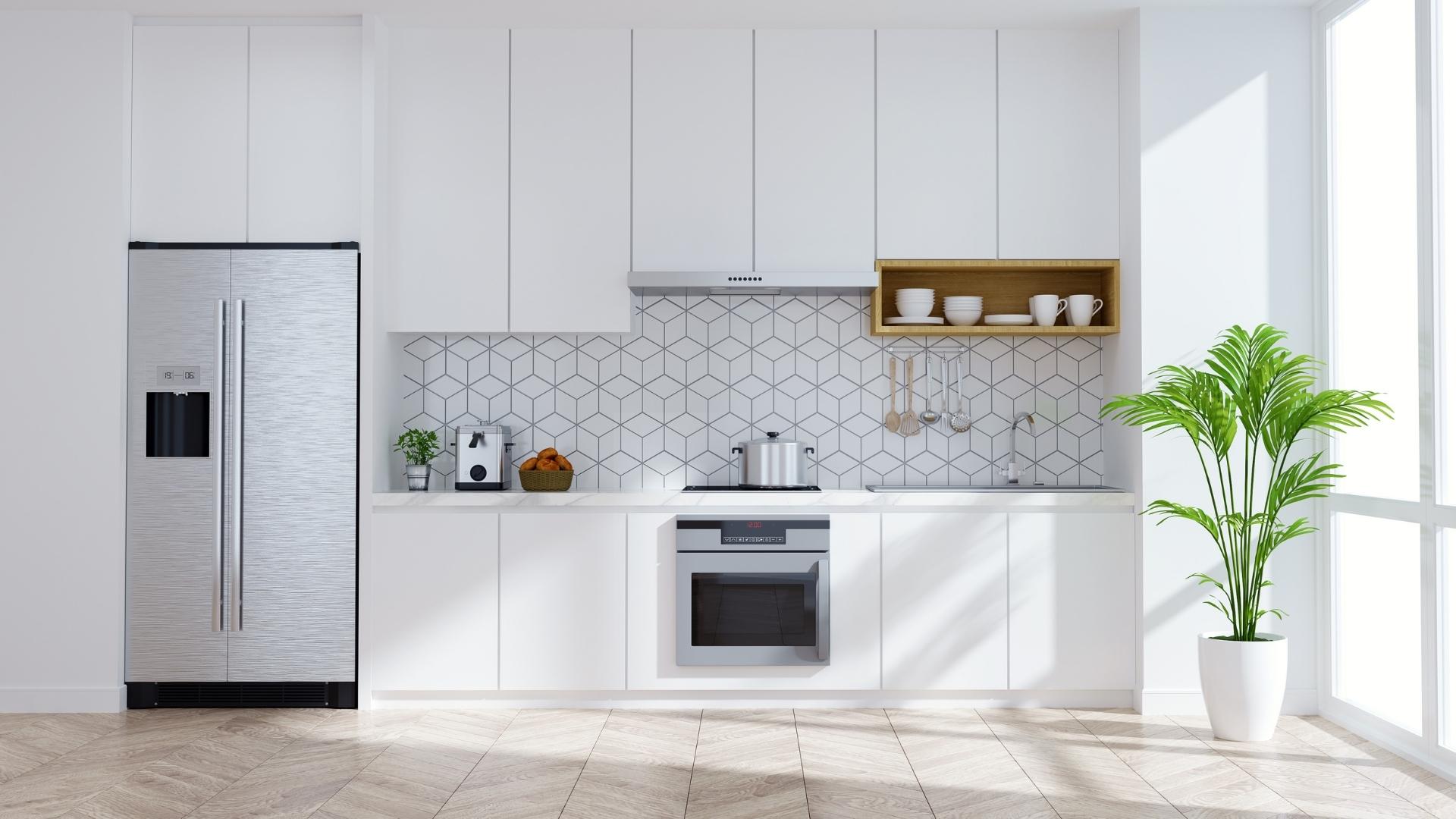 Mẫu tủ bếp chữ I màu trắng cho nhà nhỏ