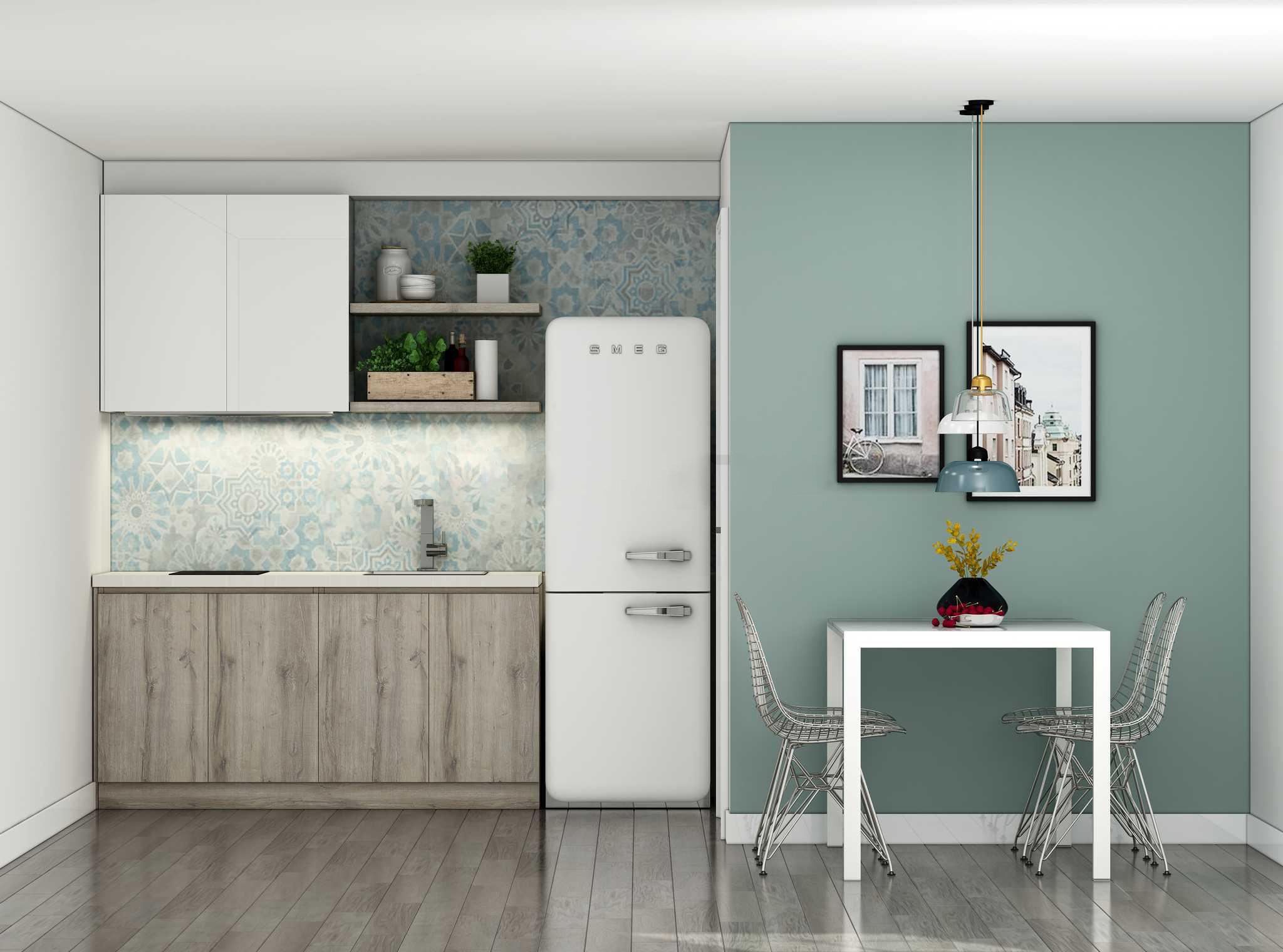 Mẫu tủ bếp chữ I cực kỳ nhỏ gọn cho các căn hộ cho thuê