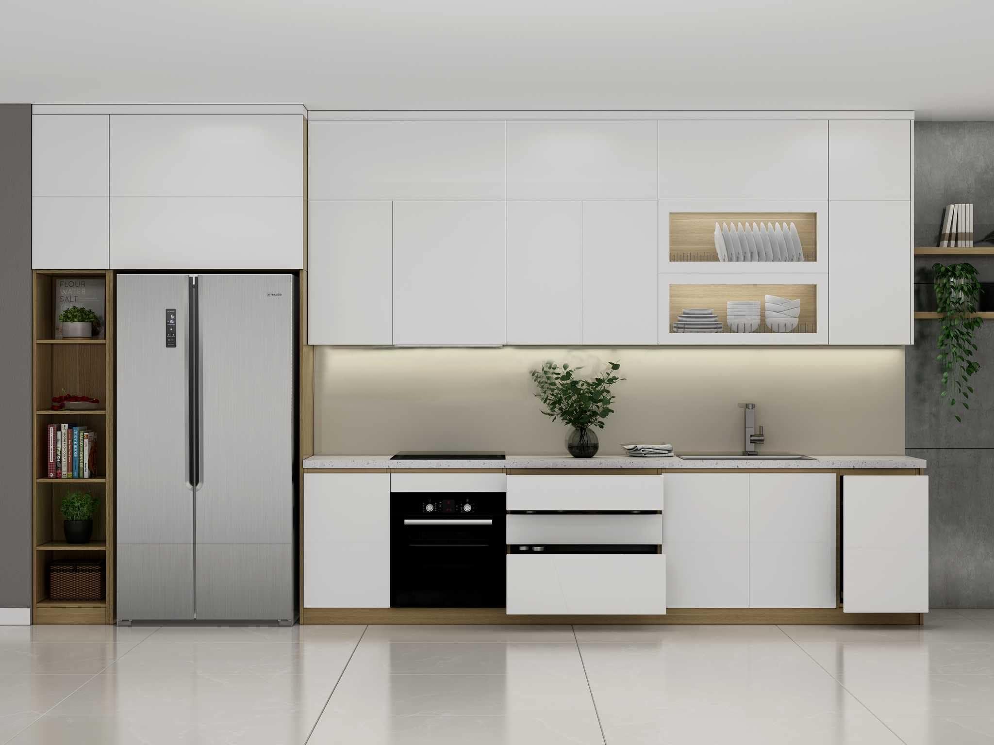 Mẫu tủ bếp chữ I dài 4m màu trắng
