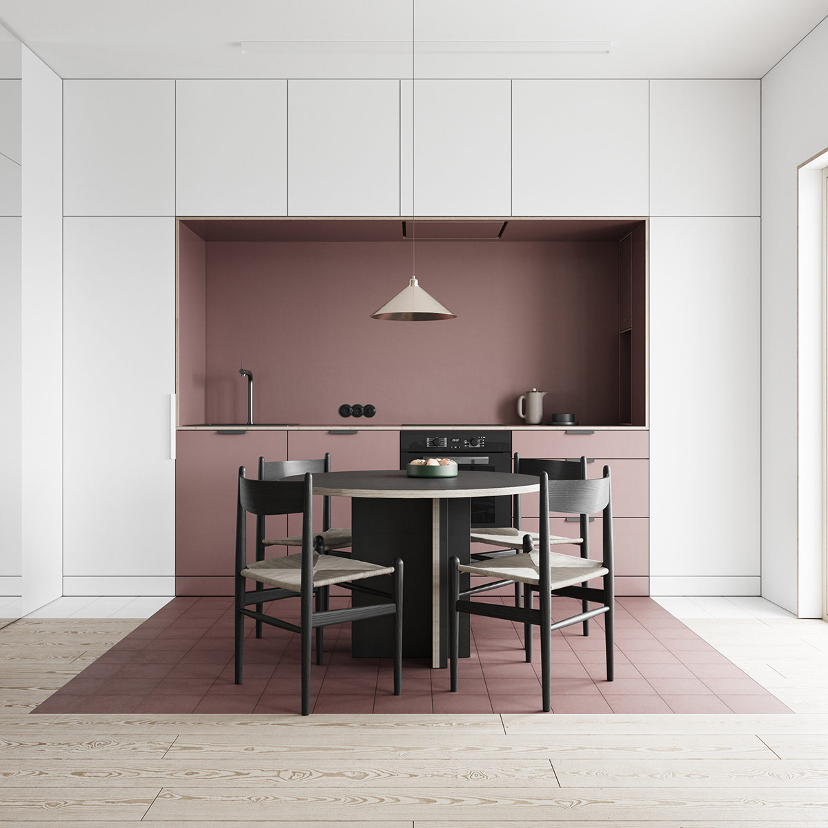 Mẫu tủ bếp chữ I màu hồng