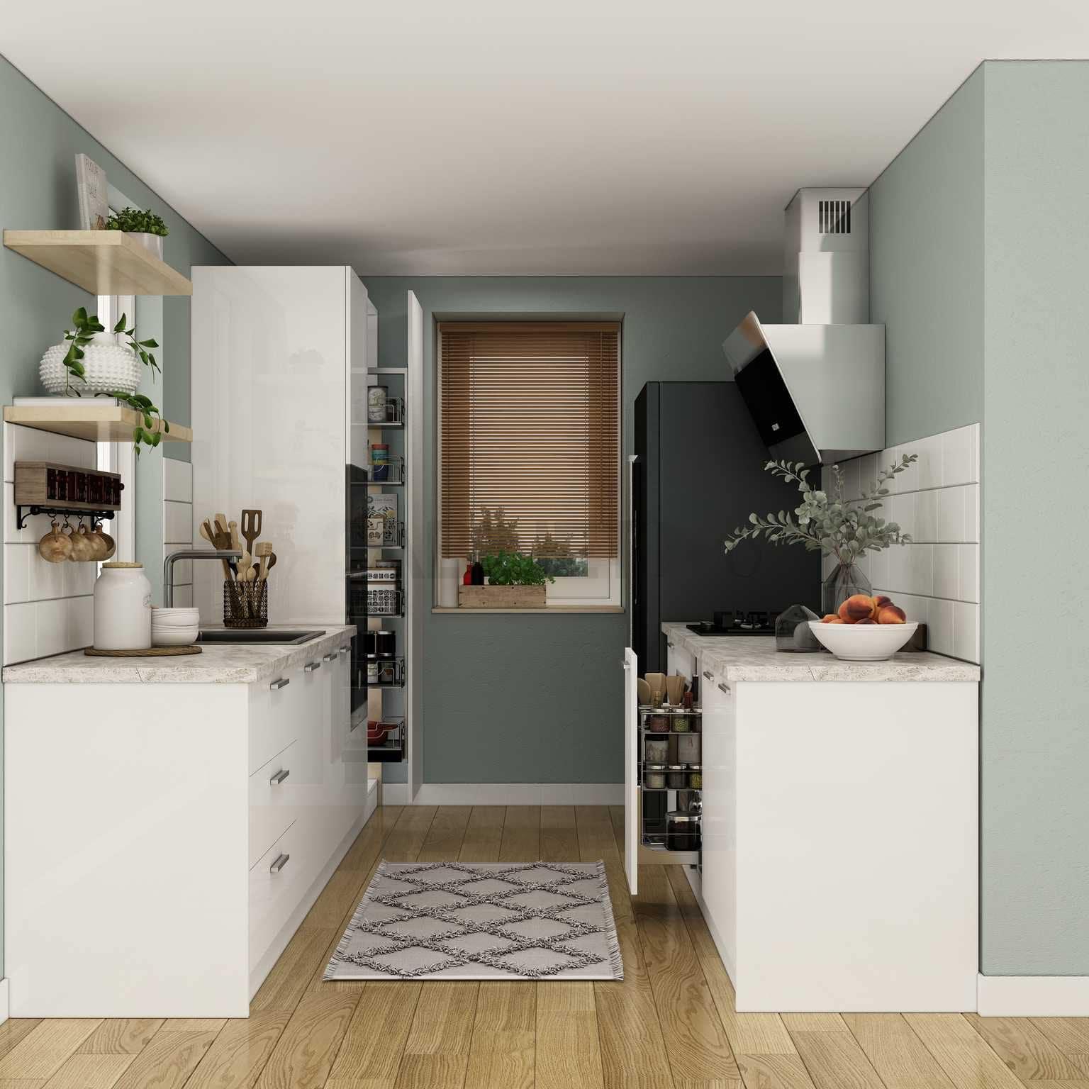 Mẫu tủ bếp song song đẹp màu trắng