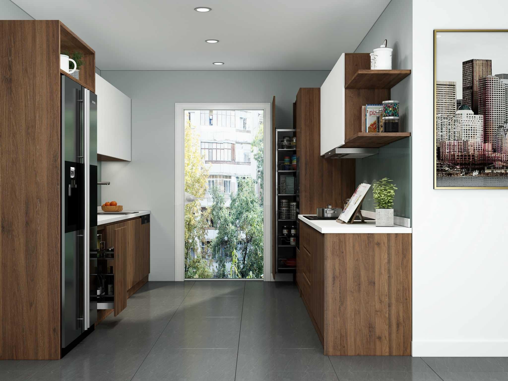 Mẫu tủ bếp song song hiện đại