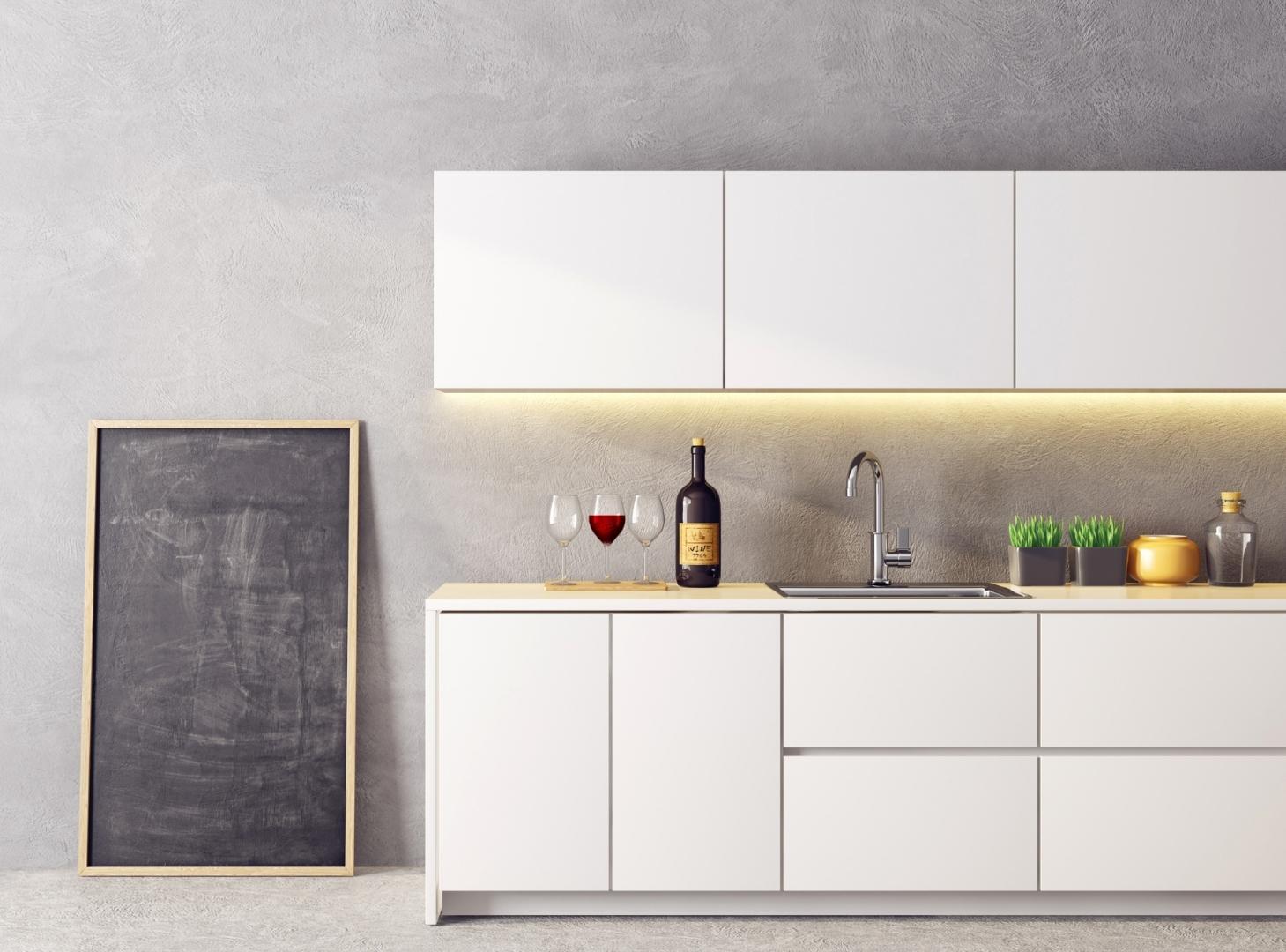 thiết kế tủ bếp chữ I phong cách tối giản