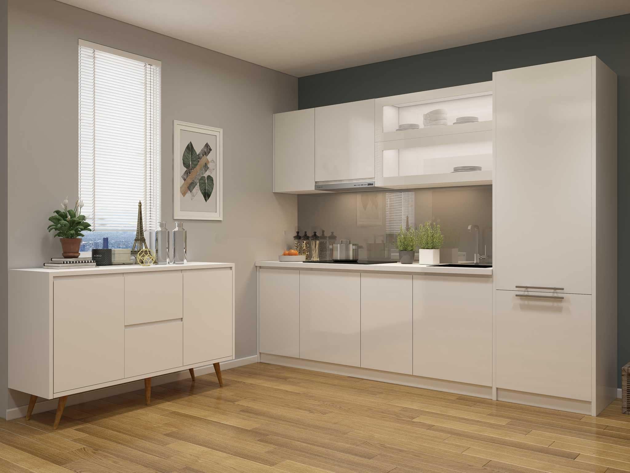 Tủ bếp acrylic chữ I màu trắng bóng