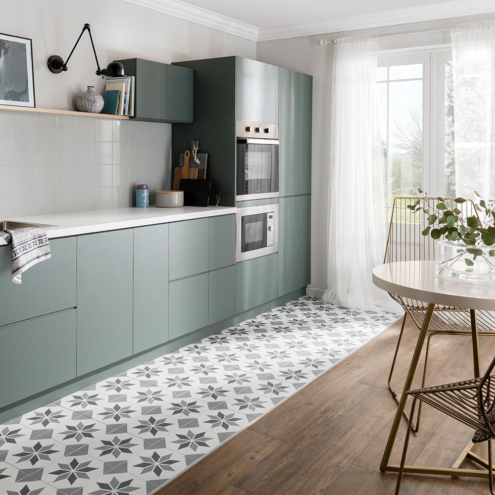 Tủ bếp chữ I đẹp màu xanh