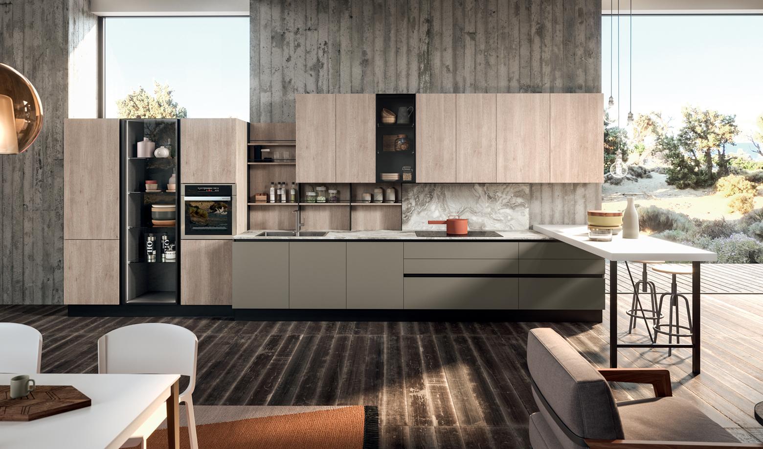 Tủ bếp thẳng dài 5m với thiết kế sáng tạo