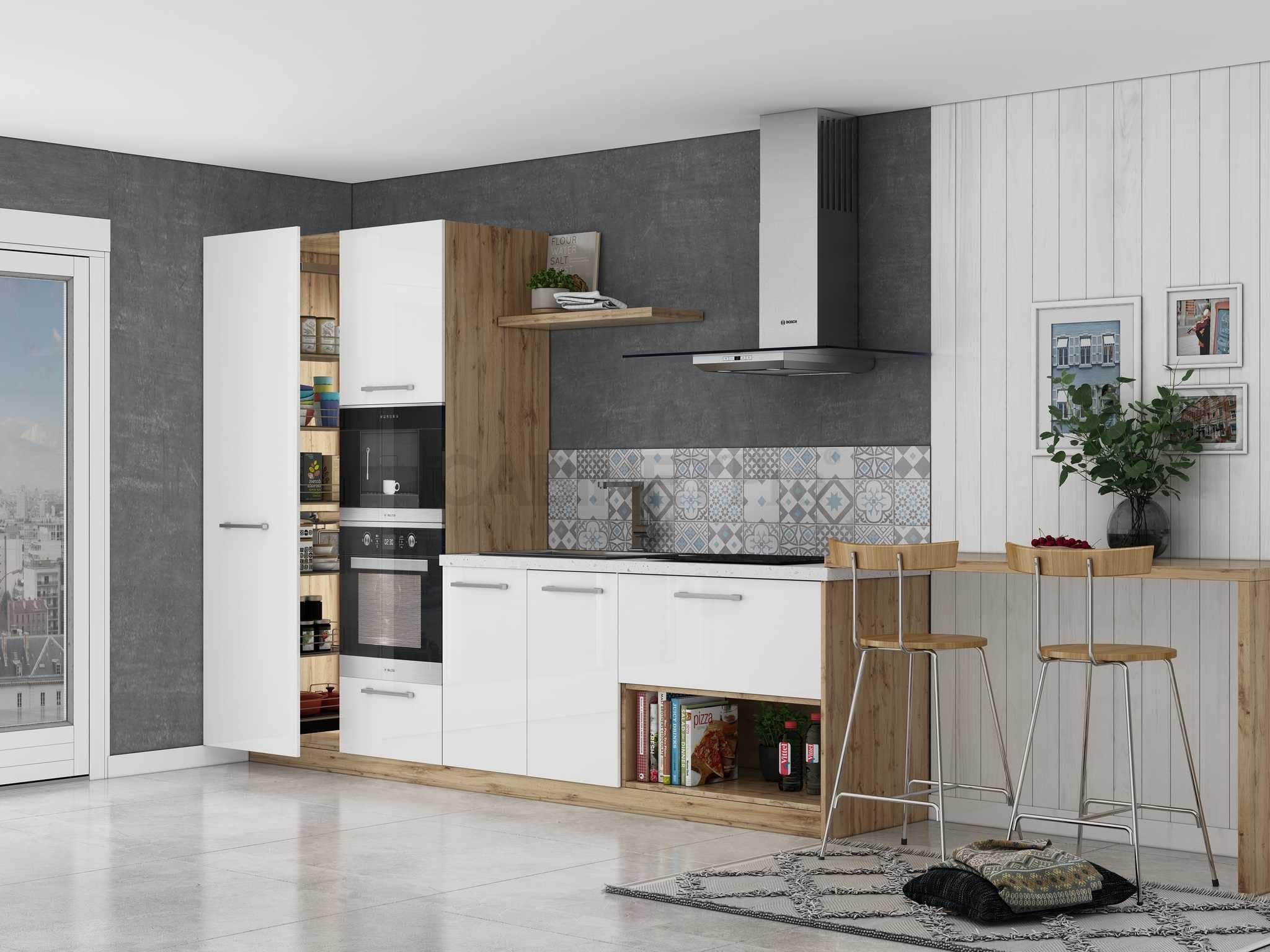 tủ bếp chữ I lượt bỏ tủ bếp trên