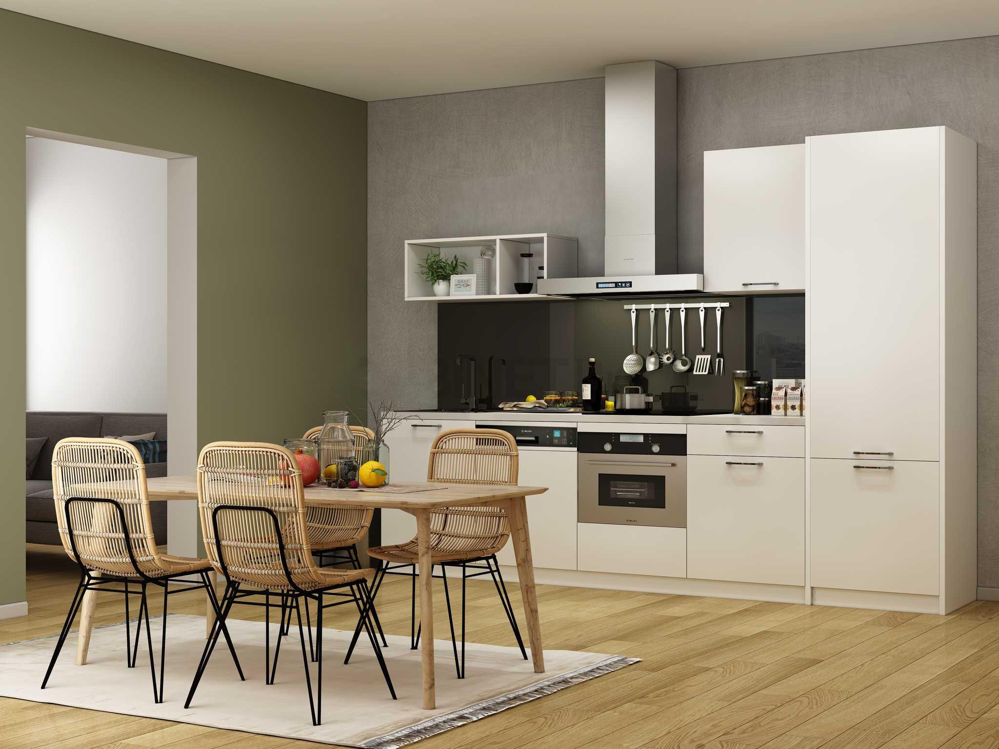 Tủ bếp melamine màu trắng hình chữ I đơn giản